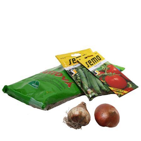 Semena zeleniny a květin, travní a krmné směsi, cibuloviny, hlízy, sadba brambor, sazečka cibule, česnek